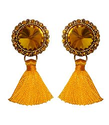 Yellow Stone Studded Silk Thread Earrings