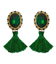 Green Stone Studded Silk Thread Earrings