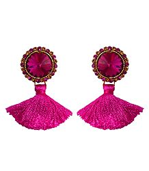 Magenta Stone Studded Silk Thread Earrings