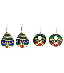 Set of 2 Pairs Painted Rubber Face Earrings