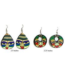 Set of 2 Pairs Painted Mask Earrings