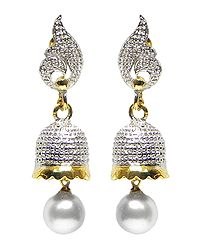 Metal Umbrella Earrings with Faux Pearl