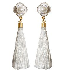 White Silk Thread Earrings