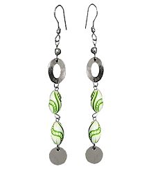 Metal Earrings with Wooden Beads