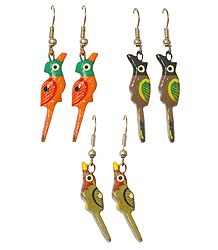 Set of 3 Pairs Wooden Bird Earrings