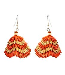 Saffron with Beige Paddy Jhumka Earrings