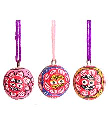 Set of Three Hanging Betel Nut with Jagannathdev Pata Painting