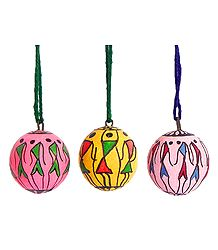 Set of Three Hanging Betel Nut with Folk Painting