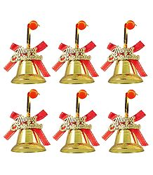 6 Plastic Golden Bells for Christmas Tree Decoration