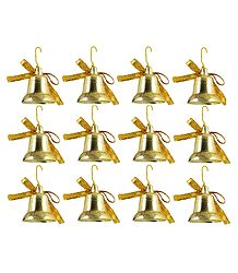 12 Plastic Golden Bells for Christmas Tree Decoration