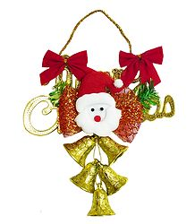 Plastic Merry Christmas Santa With Golden Bells
