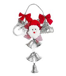 Merry Christmas Santa With Silver Bells for Christmas Decoration