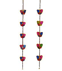 Set of 2 Hand Painted Hanging Butterfly with Beads - Perforated Leather Crafts