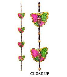 Hand Painted Hanging Butterfly with Beads - Perforated Leather Crafts from Andhra Pradesh