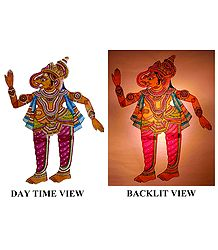 Hand Painted Ganesha - Perforated Leather Hanging Puppet from Andhra Pradesh