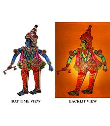 Hand Painted Krishna - Perforated Leather Hanging Puppet from Andhra Pradesh