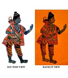 Hand Painted Rama - Perforated Leather Hanging Puppet from Andhra Pradesh