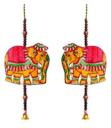 Set of 2 Hand Painted Hanging Elephant with Beads - Perforated Leather Crafts