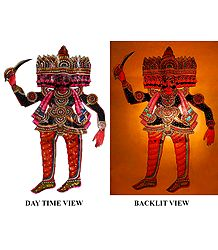 Ravana - Hand Painted Perforated Leather Hanging Puppet