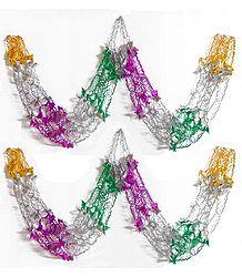 Set of Two Decorative Multicolor Foil Paper Streamer