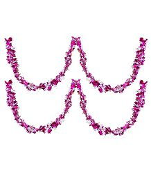 Set of 2 Decorative Magenta with White Paper Streamer