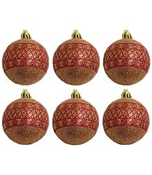 Set of Six Red Balls for Christmas Tree Decoration