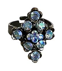Blue Stone Studded Adjustable Ring
