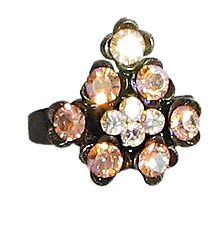 Light Peach Stone Studded Adjustable Ring