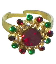 Multicolor Stone Studded Adjustable Ring