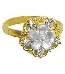 White Stone Studded Adjustable Ring