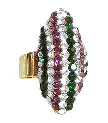 Faux Amethyst, Emerald and Zirconia Adjustable Ring