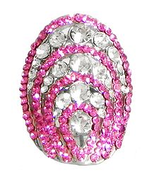 Faux Ruby and Zirconia Adjustable Ring