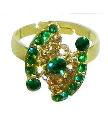 Green and Brown Stone Studded Adjustable Ring