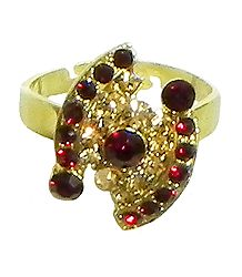 Maroon and Brown Stone Studded Adjustable Ring