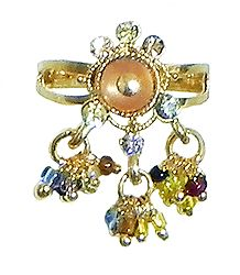 Peach Stone Studdd Adjustable Ring with Beaded Jhalar