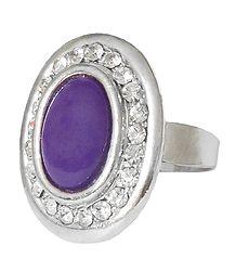 White and Dark Purple Stone Setting Metal Ring