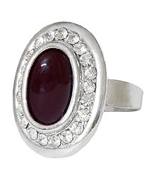 White and Maroon Stone Setting Metal Ring