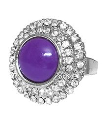 White and Purple Stone Setting Round Metal Ring