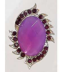 Light Mauve and Dark Purple Stone Studded Adjustable Ring