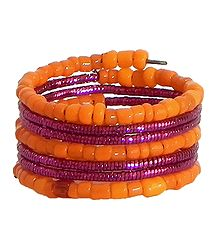 Orange with Magenta Beaded Adjustable Ring