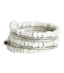 White Beaded Adjustable Ring