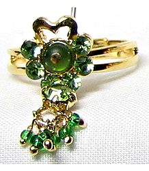 Dark Green Stone Setting Ring with Jhumkas