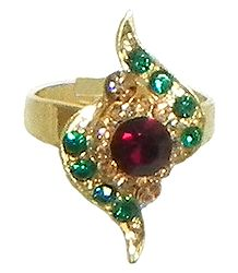 Red and Green Stone Studded Adjustable Ring