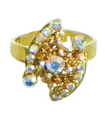 White and Brown Stone Studded Adjustable Ring