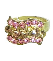 Pink and Rust Stone Studded Adjustable Ring