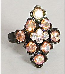 Diamond - Light Peach Stone Studded Adjustable Ring
