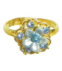 Light Blue Stone Studded Adjustable Ring