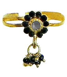 Black Stone Studded Jhalar Adjustable Ring