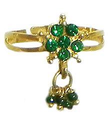 Green Stone Studded Jhalar Adjustable Ring