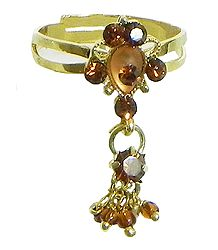 Rusr and Maroon Stone Studded Jhalar Adjustable Ring